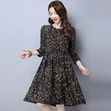 Load image into Gallery viewer, omychic plus size cotton linen vintage floral women casual loose midi autumn spring dress elegant clothes 2020 ladies dress