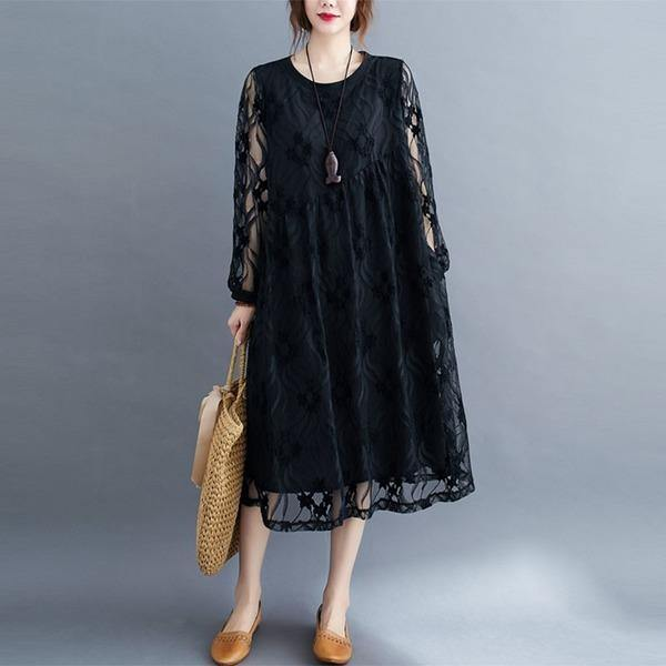 Oversized Women Casual Lace Dresses Style Solid Color Loose Comfortable Ladies Elegant Long Dress