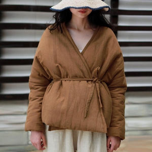 JWinter Solid Color Belt Asymmetric Length  2020 Casual Vintage Long Sleeve Female Thick Coats