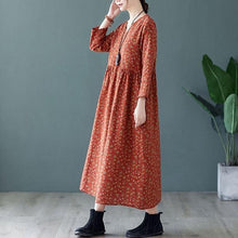 Load image into Gallery viewer, Women Cotton Linen Casual Dress V-neck Loose Ladies Elegant A-line Long Dresses