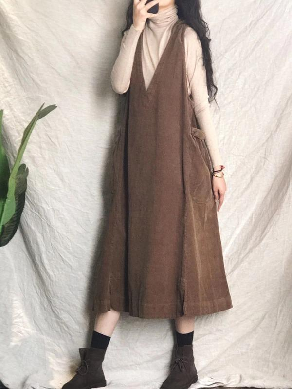 Solid Color Corduroy Hooded Dress Ladies Vintage Tank Dress Female V Neck Vintage Dresses