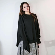 Load image into Gallery viewer, Women T-shirt Fashion Batwing Sleeve Solid Color Loose Pullover Top Winter Casual All-match Black Street Trendy