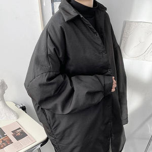 Black Casual Women Winter New Turn down Collar Single Breasted Loose Fashion All-match