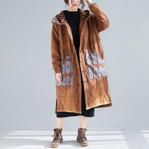 Print Floral Vintage Parkas For Women Warm Cloths Patchwork Hooded Coats