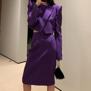 Tassel Patchwork Women's Sets Purple Trendy Fashion  Korean Elegant O Neck Collar Long Sleeve Single Breasted