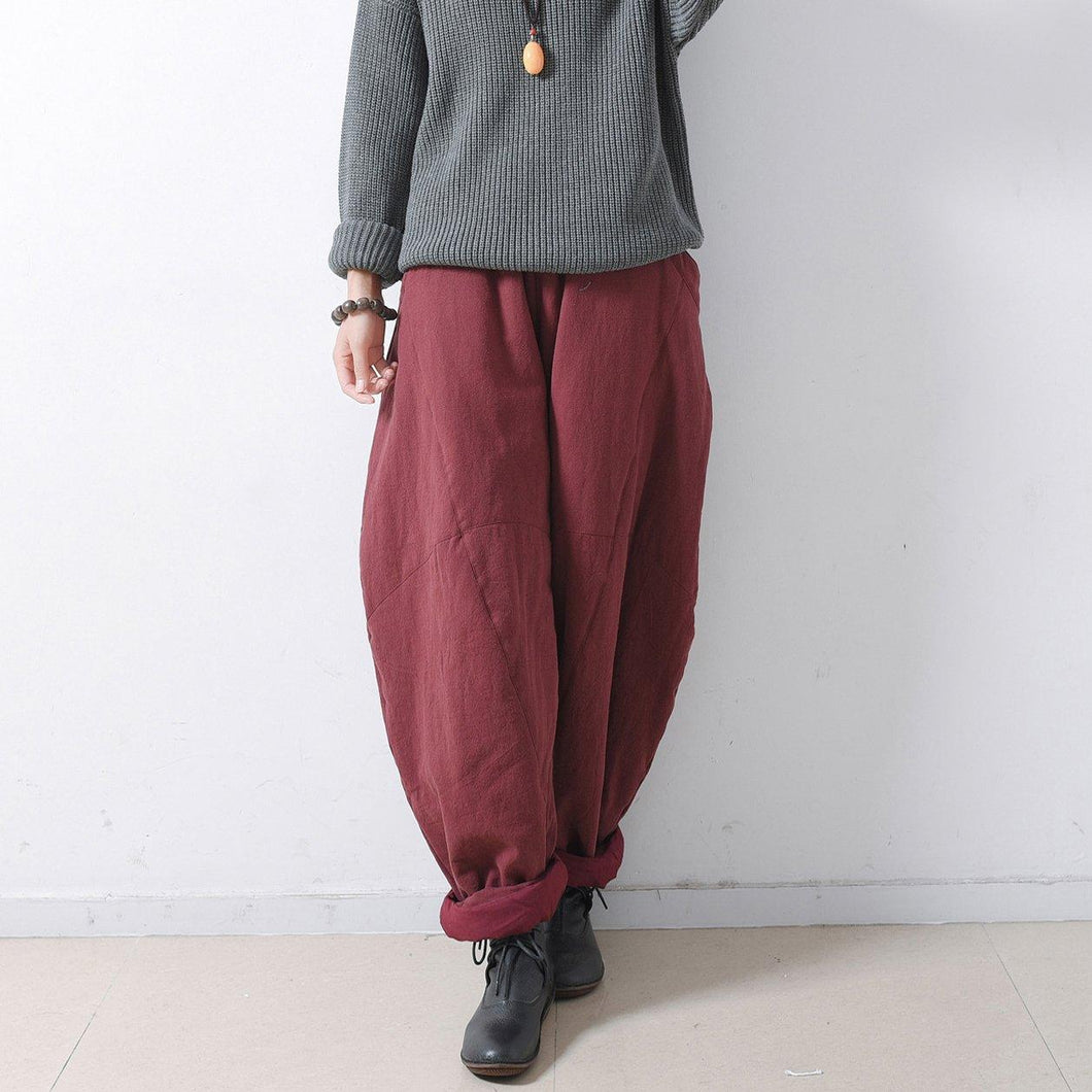 fall new linen vintage pants plus size loose thick wide leg pants