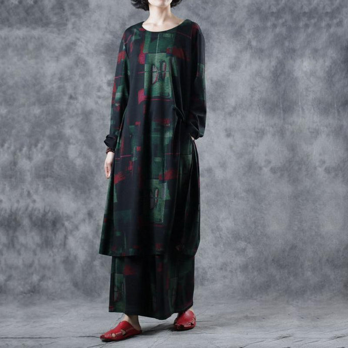 fall vintage cotton two pieces o neck mid dress and elastic waist straight pants