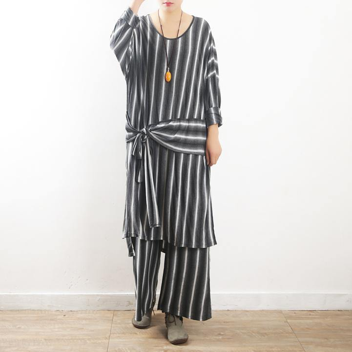 fall women cotton gray striped two pieces asymmetric tops and women pants