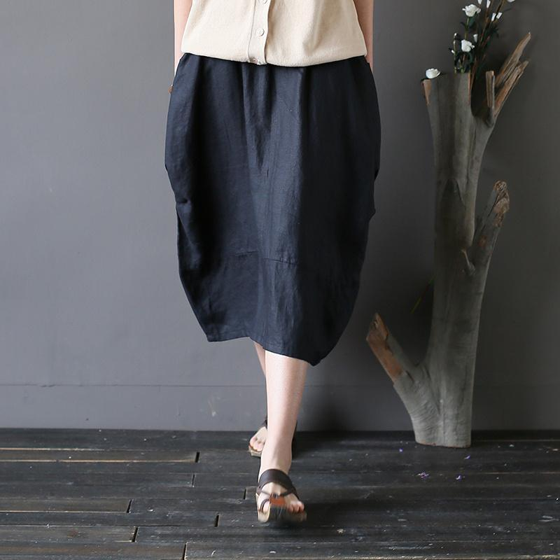 fall black linen casual skirts oversize stylish patchwork women mid skirts