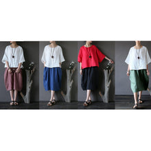 Load image into Gallery viewer, fall black linen casual skirts oversize stylish patchwork women mid skirts