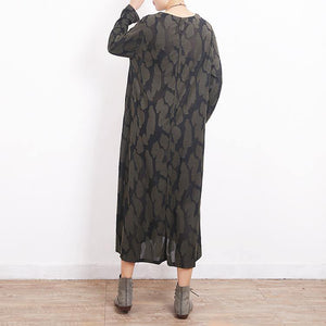 fashion army green caftans oversize O neck Jacquard traveling clothing 2018 side open kaftans