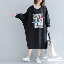 Load image into Gallery viewer, fashion black 2018 fall dress Loose fitting traveling dress batwing sleeve women o neck dress