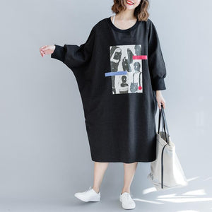 fashion black 2018 fall dress Loose fitting traveling dress batwing sleeve women o neck dress