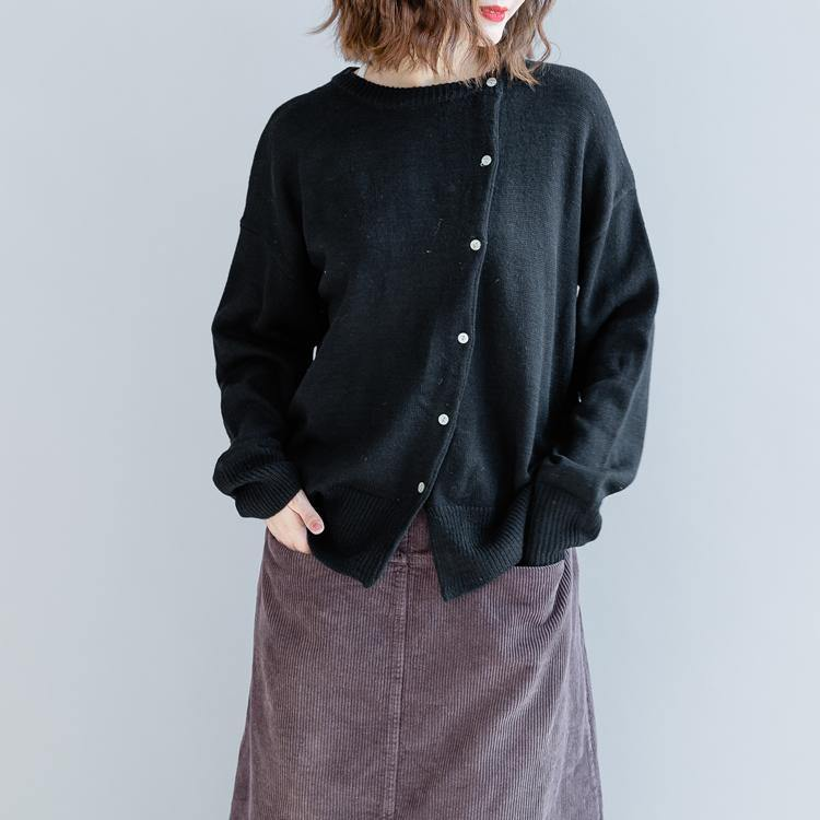 fashion black cotton blouse oversize  traveling blouse boutique long sleeve o neck cotton t shirt