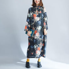 Load image into Gallery viewer, fashion black print cotton linen maxi dress plus size O neck baggy dresses cotton linen gown 2018 long sleeve pockets maxi dresses