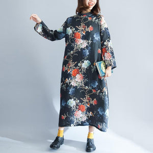 fashion black print cotton linen maxi dress plus size O neck baggy dresses cotton linen gown 2018 long sleeve pockets maxi dresses