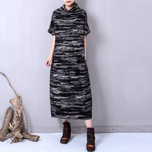 Load image into Gallery viewer, fashion black prints linen caftans trendy plus size high collar linen clothing dress casual short sleeve linen caftans