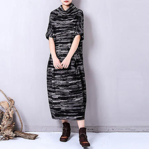 fashion black prints linen caftans trendy plus size high collar linen clothing dress casual short sleeve linen caftans