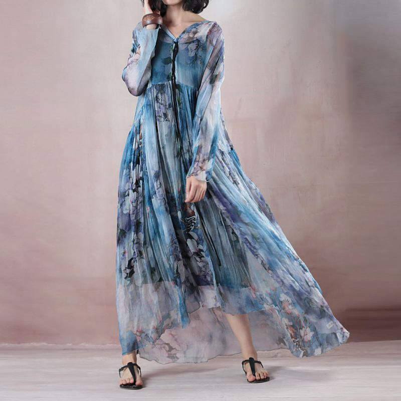 fashion blue print silk dress plus size clothing v neck baggy dresses New long sleeve exra large hem gown