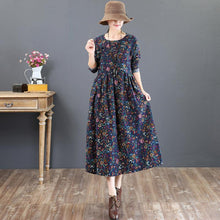 Load image into Gallery viewer, fashion blue prints long cotton dresses casual o neck caftans women tunic maxi dresses