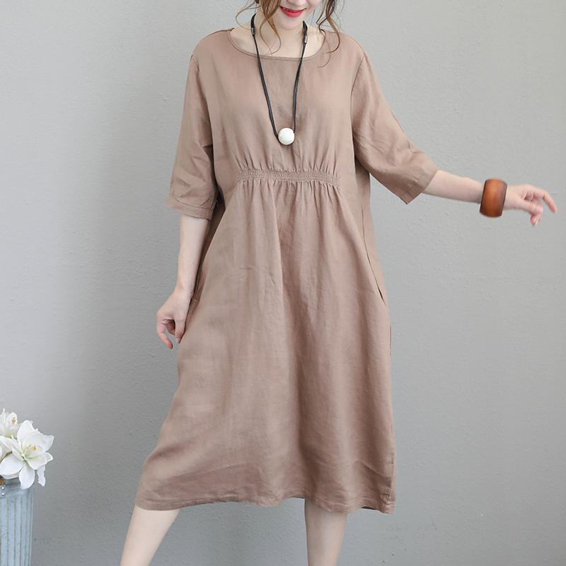fashion brown natural linen dress Loose fitting O neck elastic waist traveling clothing Fine Half sleeve gown