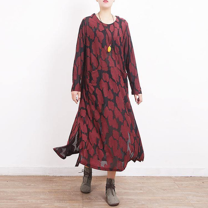 fashion burgundy Loose fitting O neck Jacquard dress Fine side open autumn dress