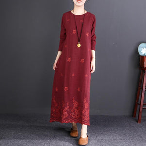 fashion burgundy embroider fabric long linen dresses plus size O neck baggy dresses gown Fine long sleeve maxi dresses