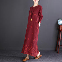 Load image into Gallery viewer, fashion burgundy embroider fabric long linen dresses plus size O neck baggy dresses gown Fine long sleeve maxi dresses