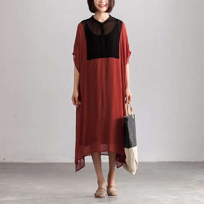 fashion chiffon dress Elegant Stand Collar Summer Short Sleeve Patch Work Long Red Dress