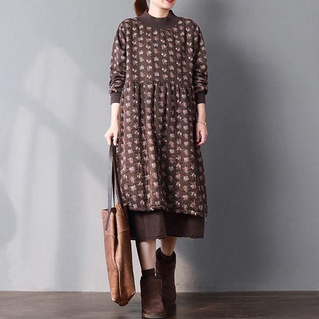 fashion chocolate print cotton spring dress plus size gown patchwork O neck thick casual clothing large hem dresses