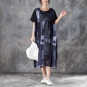 fashion cotton blended caftans stylish Women Splicing Summer Dress Loose Cotton with Pocket
