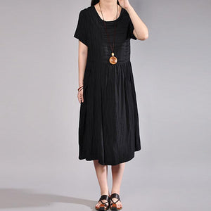 fashion cotton caftans plus size Women Summer Casual Short Sleeve Black Dress