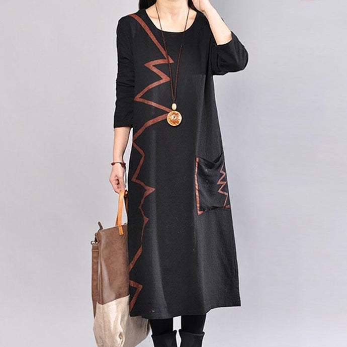 fashion cotton dresses plus size Spring Round Neck Long Sleeve Cotton Printed Black Dress
