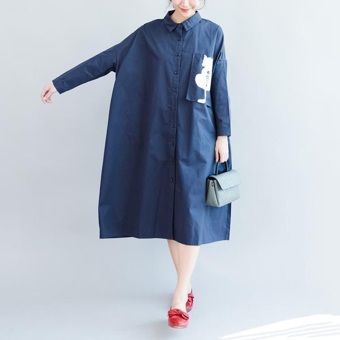fashion dark blue cotton knee dress plus size casual long sleeve pockets Turn-down Collar baggy dresses