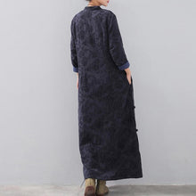 Load image into Gallery viewer, fashion dark blue long trendy plus size stand collar linen clothing dress vintage Chinese Button side open autumn dress