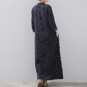 fashion dark blue long trendy plus size stand collar linen clothing dress vintage Chinese Button side open autumn dress