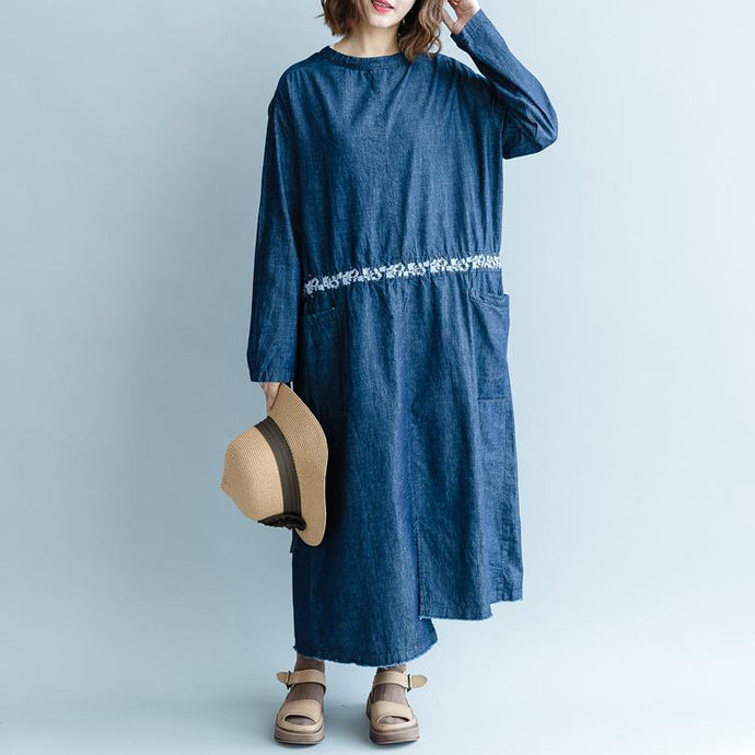 fashion denim blue embroidery natural cotton dress plus size O neck pockets traveling dress top quality long sleeve two ways to wear cotton dresses