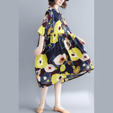 Load image into Gallery viewer, fashion floral cotton blended caftans plus size O neck baggy dresses caftans women Three Quarter sleeve pockets dresses