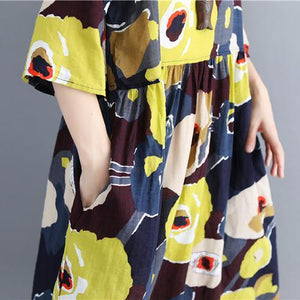 fashion floral cotton blended caftans plus size O neck baggy dresses caftans women Three Quarter sleeve pockets dresses
