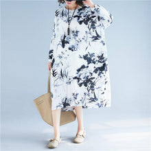 Load image into Gallery viewer, fashion floral cotton linen maxi dress plus size clothing o neck baggy dresses cotton linen maxi dress