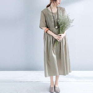 fashion gray long cotton linen dress oversize O neck elastic waist half sleeve clothing dresses top quality baggy two pieces dresses