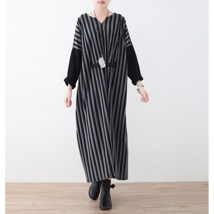 fashion gray striped long cotton dress plus size V neck tie waist cotton clothing dress Batwing Sleeve maxi dress