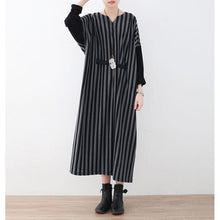 Load image into Gallery viewer, fashion gray striped long cotton dress plus size V neck tie waist cotton clothing dress Batwing Sleeve maxi dress