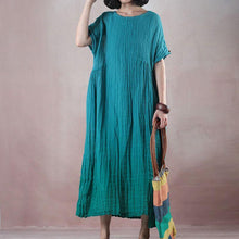 Load image into Gallery viewer, fashion green cotton linen maxi dress plus size clothing o neck baggy dresses Elegant wrinkled short sleeve cotton linen long dress
