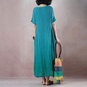 fashion green cotton linen maxi dress plus size clothing o neck baggy dresses Elegant wrinkled short sleeve cotton linen long dress