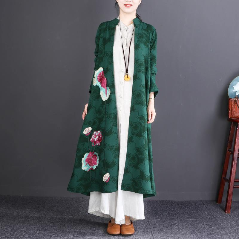 fashion green embroidery long cotton linen cardigans plus size Stand gown boutique long sleeve trench coats