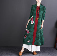 Load image into Gallery viewer, fashion green embroidery long cotton linen cardigans plus size Stand gown boutique long sleeve trench coats