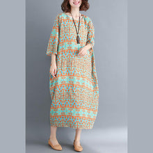 Load image into Gallery viewer, fashion green print cotton linen dresses plus size women Three Quarter sleeve O neck cotton linen dress