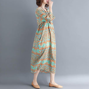 fashion green print cotton linen dresses plus size women Three Quarter sleeve O neck cotton linen dress