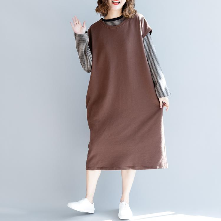 fashion khaki fall cotton dress oversized fall dresses sleeveless top quality o neck natural cotton dress